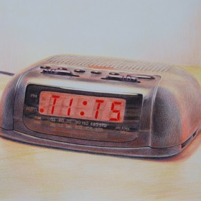 """Tits O' Clock"", 2010, Colored pencil on paper, 30 x 44 inches"