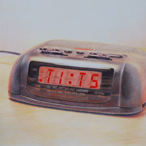 drawing, colored pencil, realism, clock