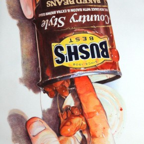 """Fingering (Bush's Country Style Baked Beans)"", 2012, Colored pencil on paper, 115 x 52.5 inches"