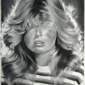drawing, charcoal and graphite, black and white, realism, realistic, female figure, humor