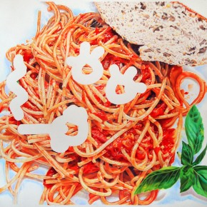 drawing, colored pencil, realism, realistic, spaghetti, cultural commentary, humor, vivid colors