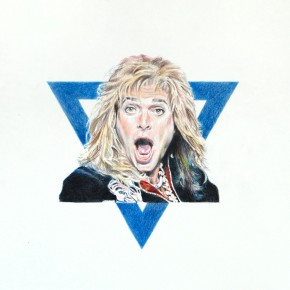 """Star of David Lee Roth"", 2012, Colored pencil on paper, 44 x 30 inches"