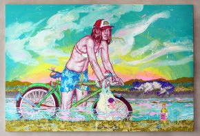 Knee Deep, 2011, acrylic, flashe and acryla-gouache on canvas, 88 x 132 inches
