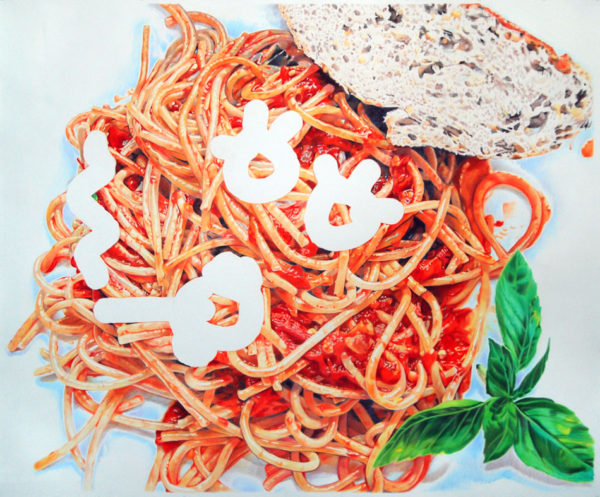 """Smokin' Spaghetti"", 2012, colored pencil on paper, 72 x 88 inches"