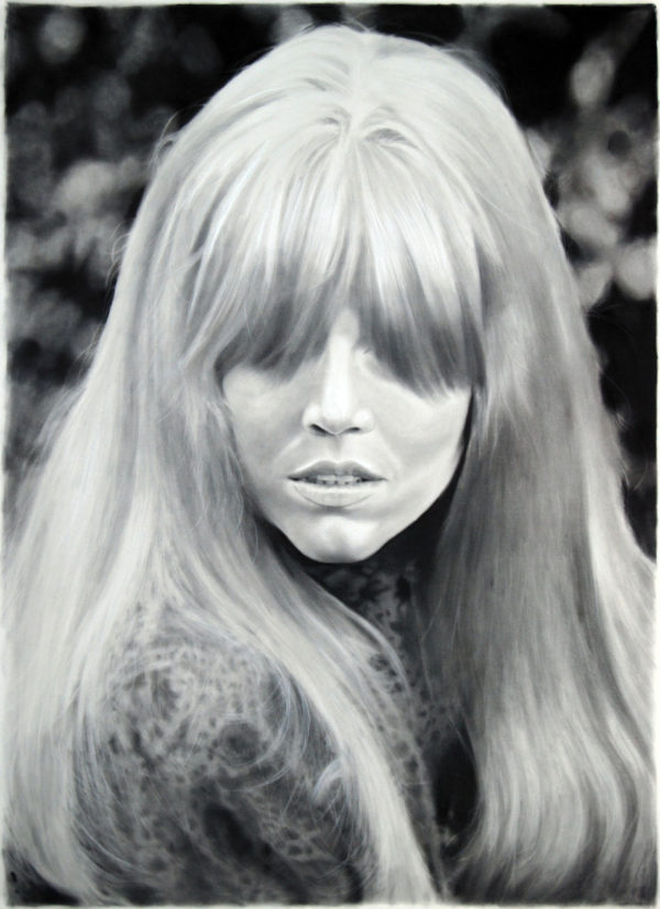 """Long-Banged Jane"", 2012, charcoal and graphite on paper, 100 x 72 inches"