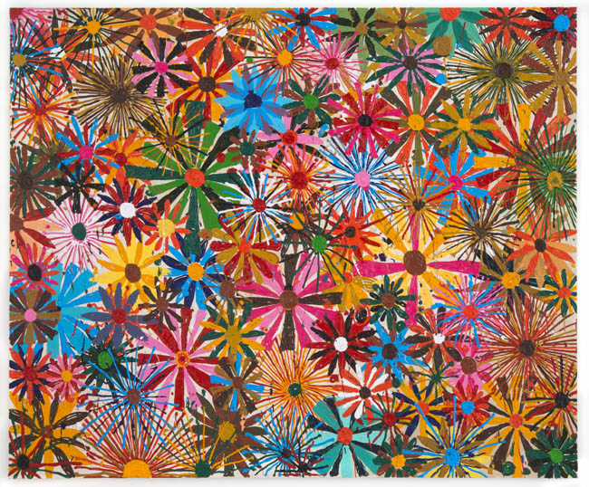 "Antonio Ballester Moreno, ""Flowers"", 2012, acrylic on canvas, 64 x 77 inches, 162 x 195 cm"