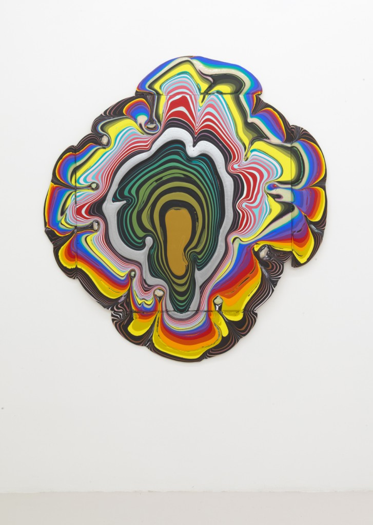 """Vizard Sleeve"", 2013, acrylic on wood, 69 x 64 x 1.5 inches, 175 x 162.5 x 3.5 cm"