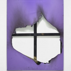 """Borderline (new territory) No. 18"", 2013, industrial paint, fire and water on canvas, aluminum frame, 70 x 55 inches, 177.5 x 139.5 cm"