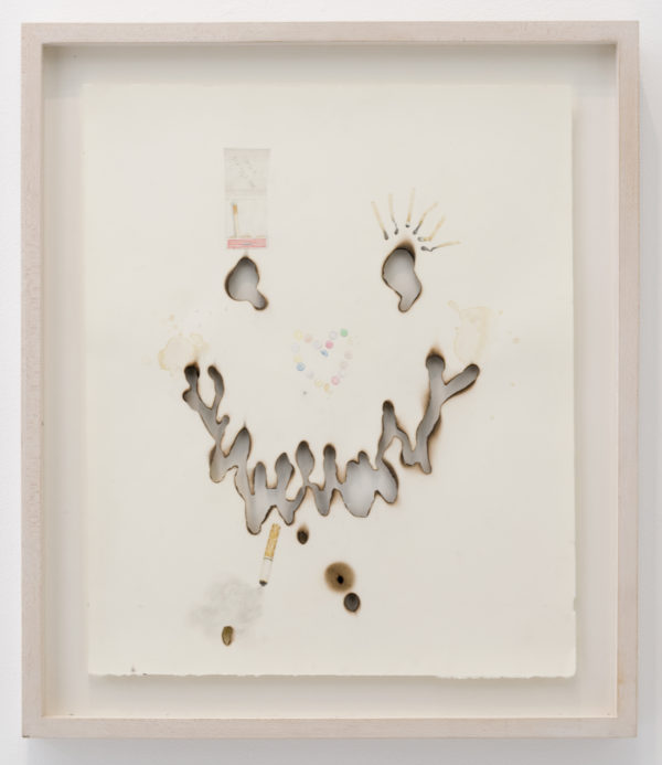 "Aurel Schmidt, ""Black Out Booty Call"", 2008, Colored pencil, pencil, beer, dirt and burn marks on paper, 18 x 15 inches"