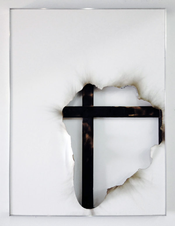 "Kasper Sonne, ""Borderline (new territory) No. 41"", 2014, ndustrial paint, fire, water and fixative on canvas, aluminum frame, 40 x 30 x 2 inches, 101.6 x 76.2 x 5.1 cm"