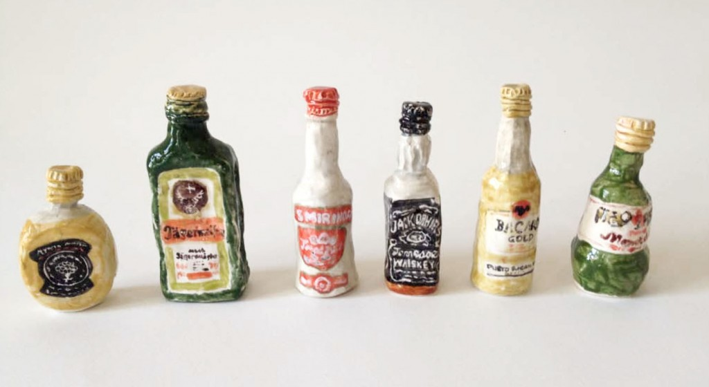 Rose Eken Miniature Liquor Bottles, 2014 Glazed paper clay 4 x 1 inches