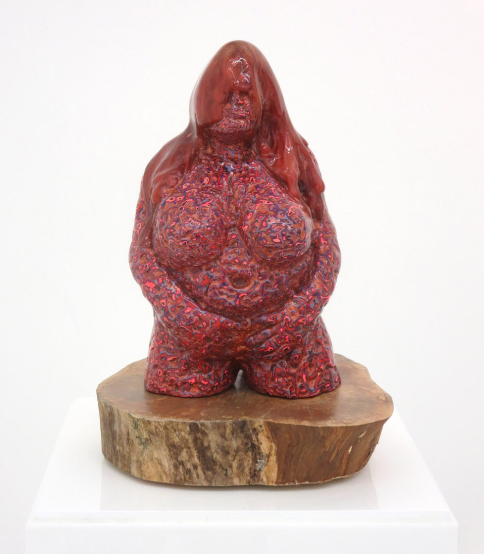 "David Pappaceno, ""Maura"", 2012, idol: painted resin, base: gift wood, 13 x 9.5 9.5 inches, 33 x 24 x 24 cm"