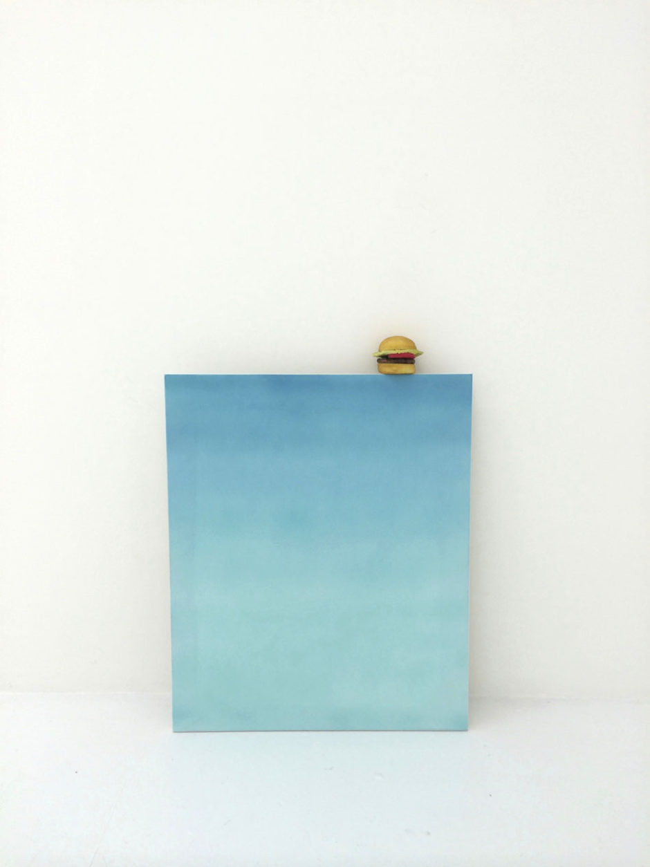 "Scott Reeder, ""Untitled"", 2013, acrylic on canvas, rubber hamburger, 39.5 x 30 inches, 100 x 76 cm"