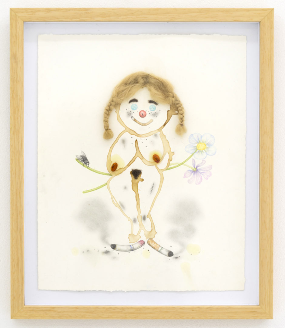 "Aurel Schmidt, ""Drug Voodoo 21 (Heidi)"" 2014, pencil, colored pencil, wig hair, human hair, Advil Migraine Liquidgels and pills on paper, 15 x 12 inches artwork, 17 x 14 inches framed"