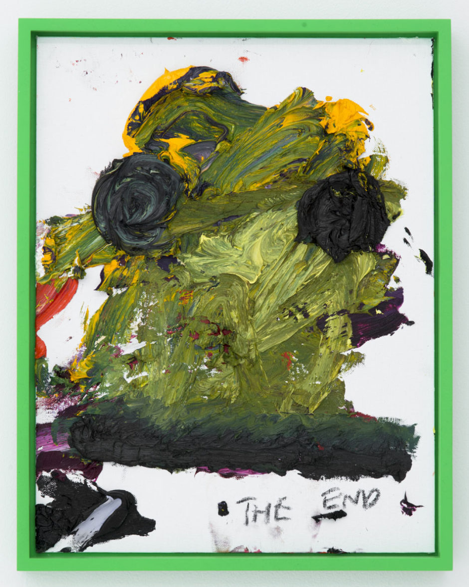 "Bjarne Melgaard, ""Untitled (The End), 2014, oil on canvas board, 18 x 14 x 1 inches, 45.5 x 35.5 x 2.5 cm"