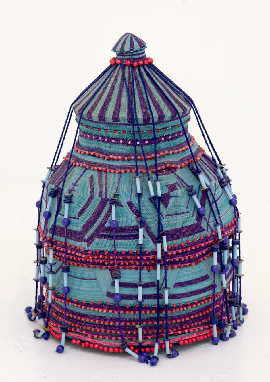 "Jim Drain, ""Big Boy"", 2005, beads, fabric, string, mixed media, 69 x 24 x 24 inches, 175 x 61 x 61 cm"