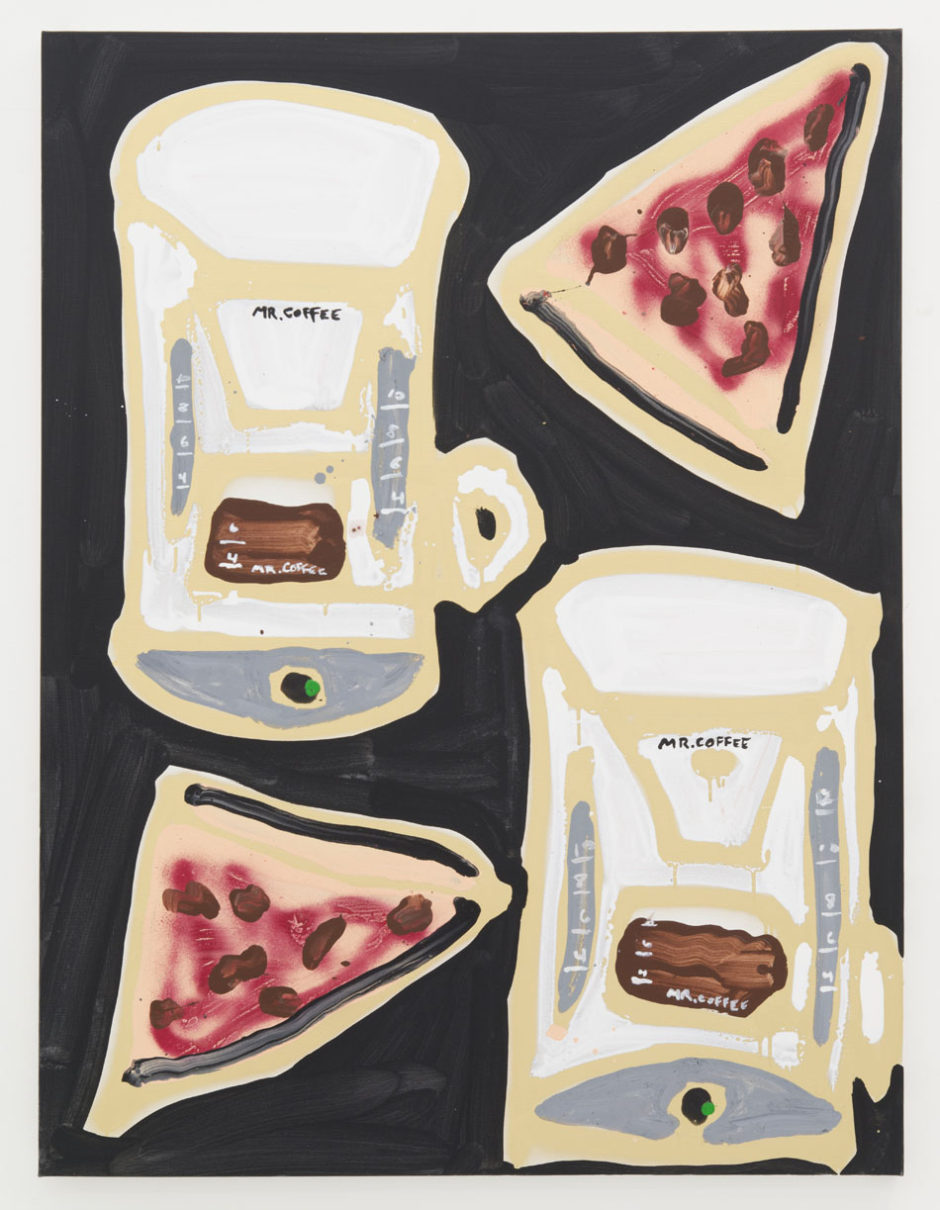 "Katherine Bernhardt, ""Mr. Coffee & Pizza, 2014, oil on canvas, 48 x 36 inches, 121.5 x 91 cm"