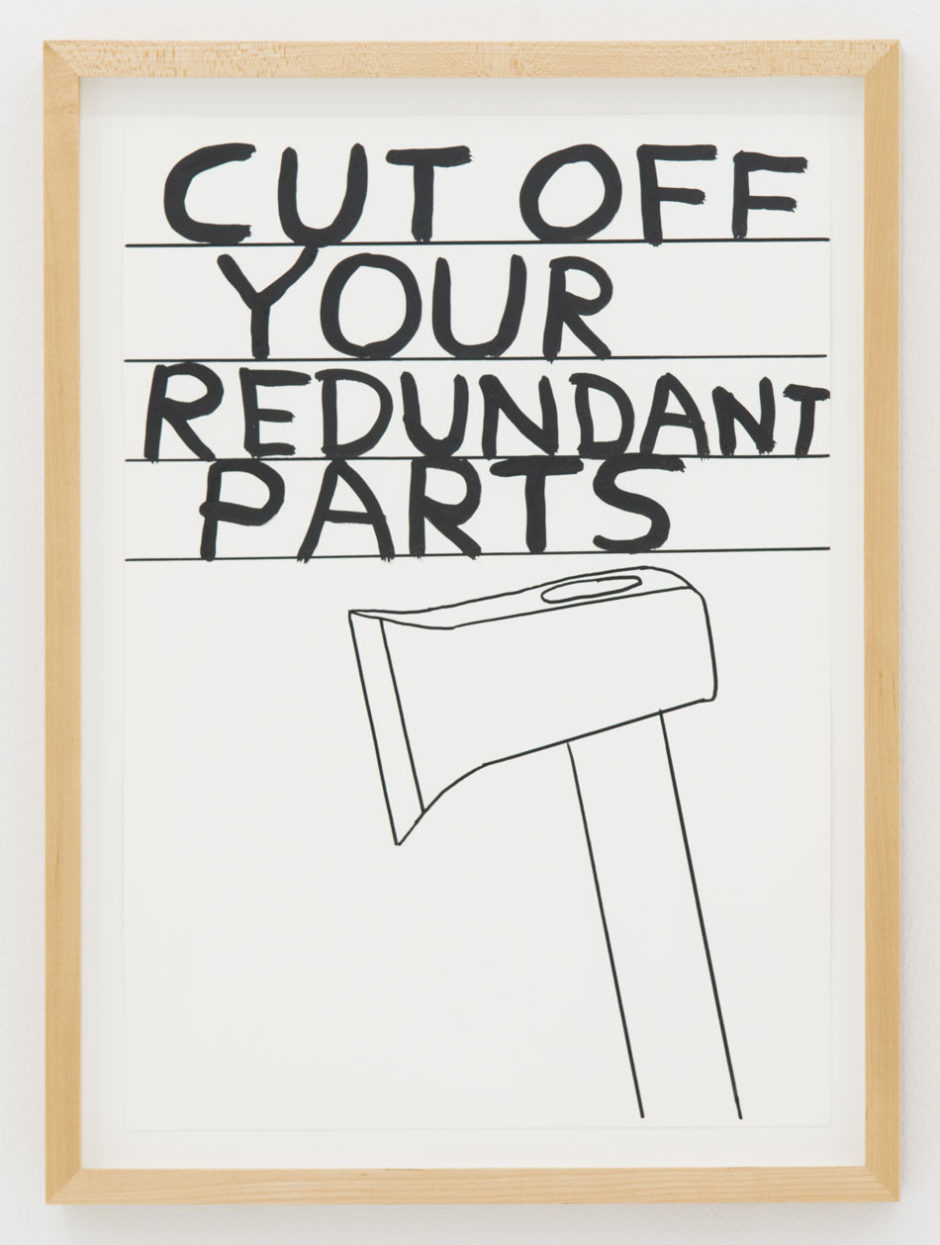 "David Shrigley, ""Untitled (cut off...), 2013, ink on paper, 18.5 x 14 inches, 47.5 x 35.9 cm"