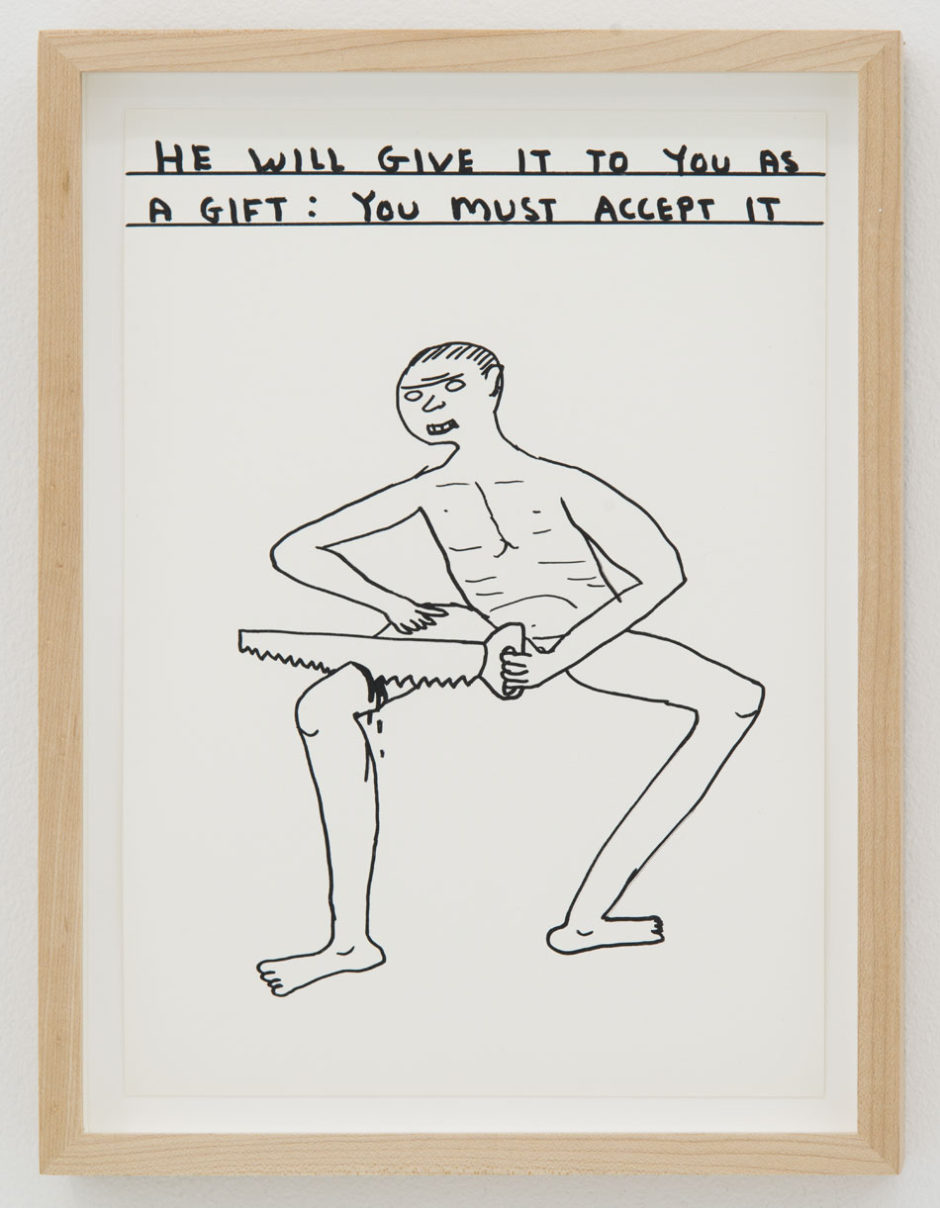 "David Shrigley, ""Untitled (You Must Accept It), 2014, ink on paper, 11.5 x 8 inches, 30 x 21 cm"