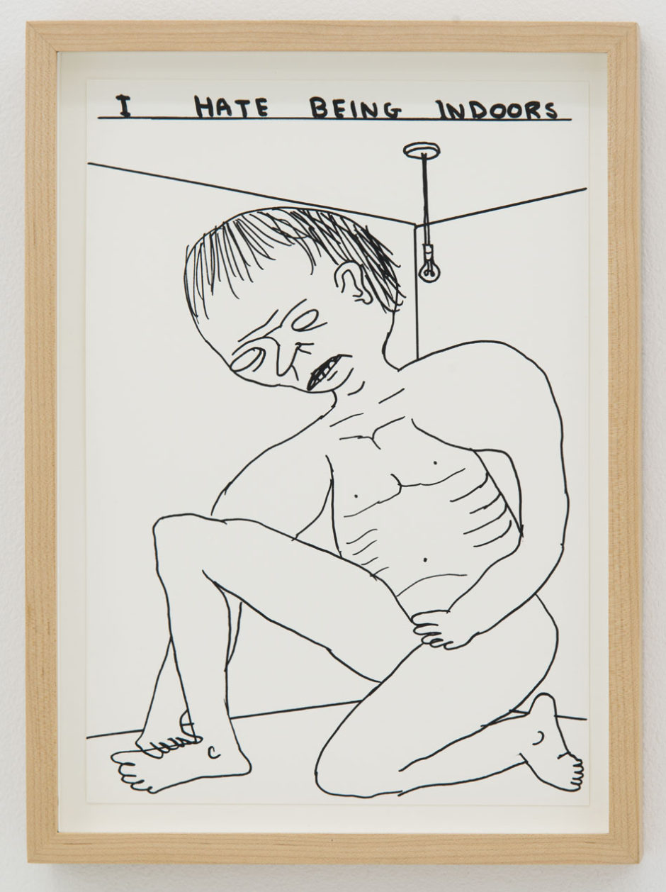 "David Shrigley, ""Untitled (Being Indoors), 2012, ink on paper, 11.5 x 8 inches, 30 x 21 cm"