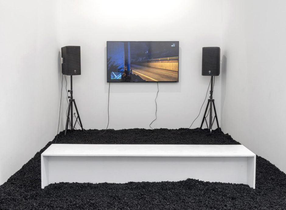 """Grand Theft Auto installation"", 2015, television with live GTA feed, dimensions variable"