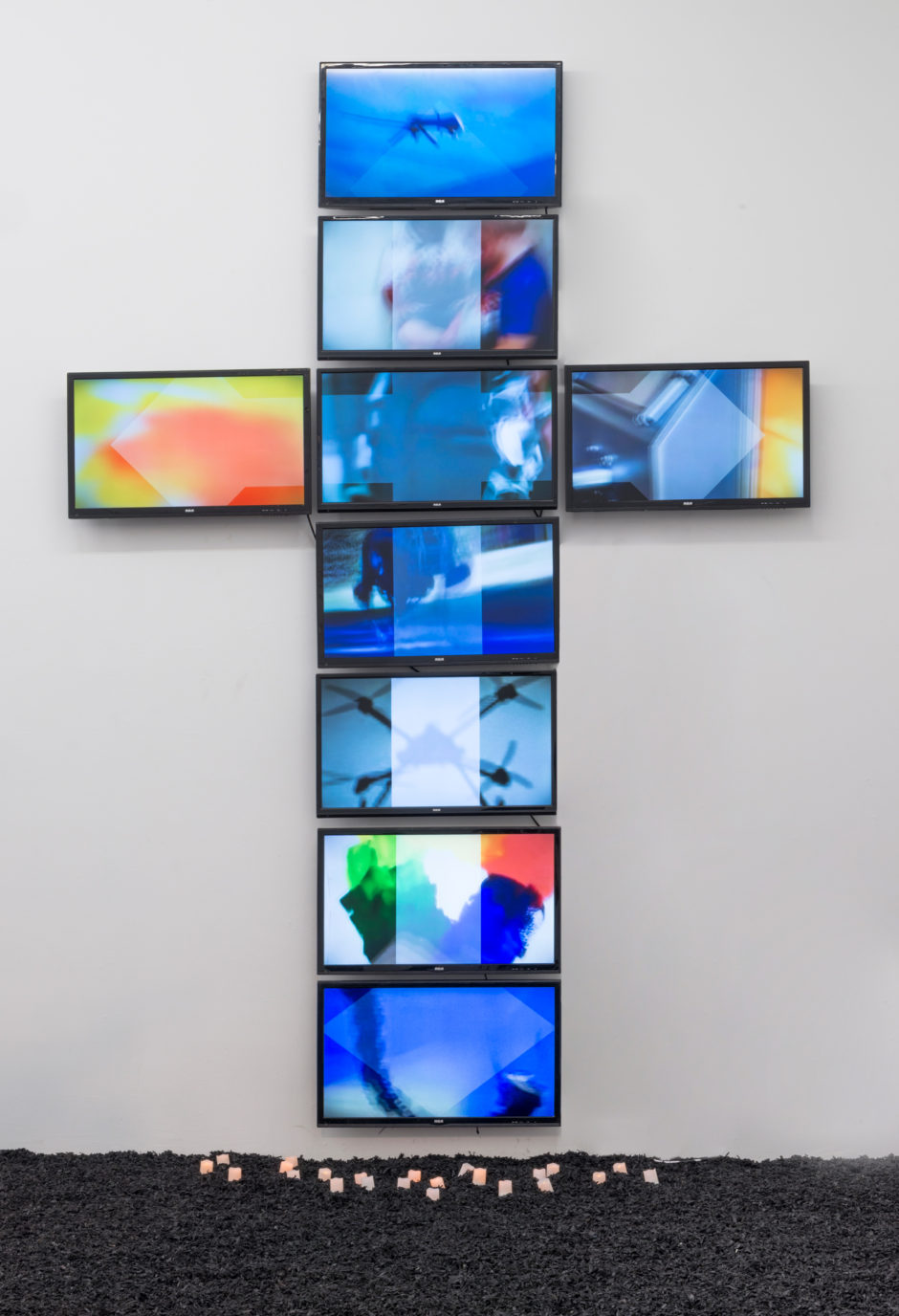 """Untitled"", 2015, 9 LED televisions 126 x 90 inches 320 x 228.6 cm"