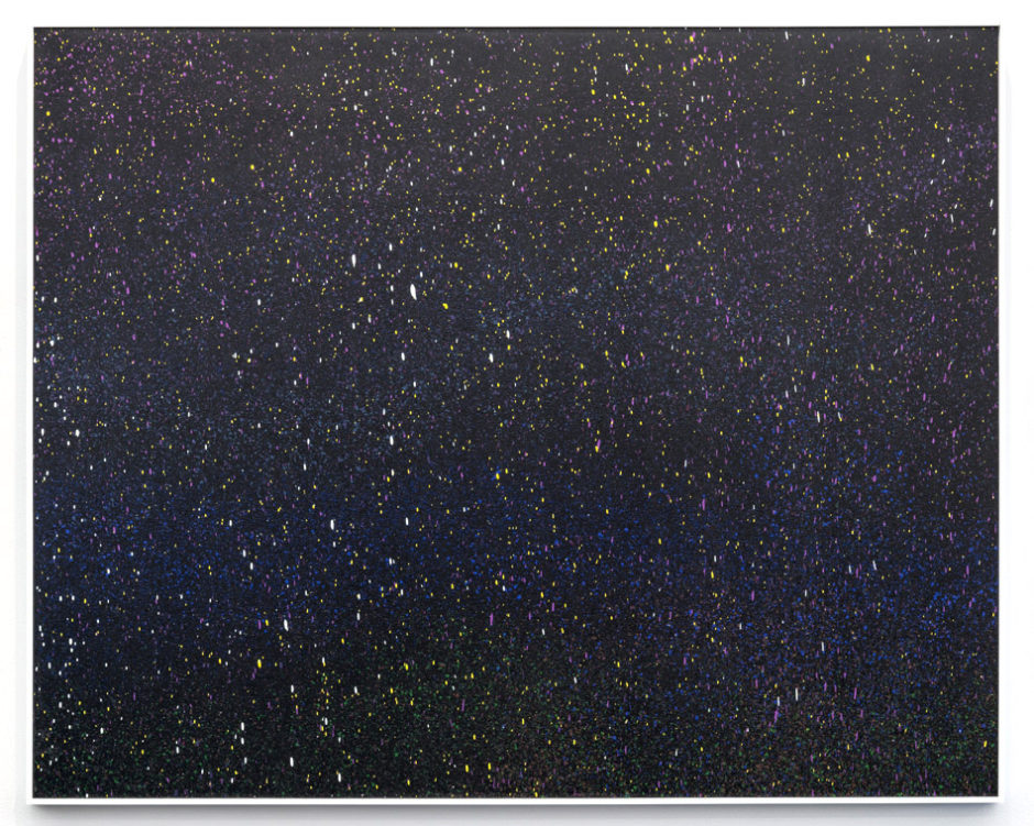 """dronescape 1 (night)"", 2014 Enamel on canvas, 48 x 60 inches, 121.9 x 152.4 cm"