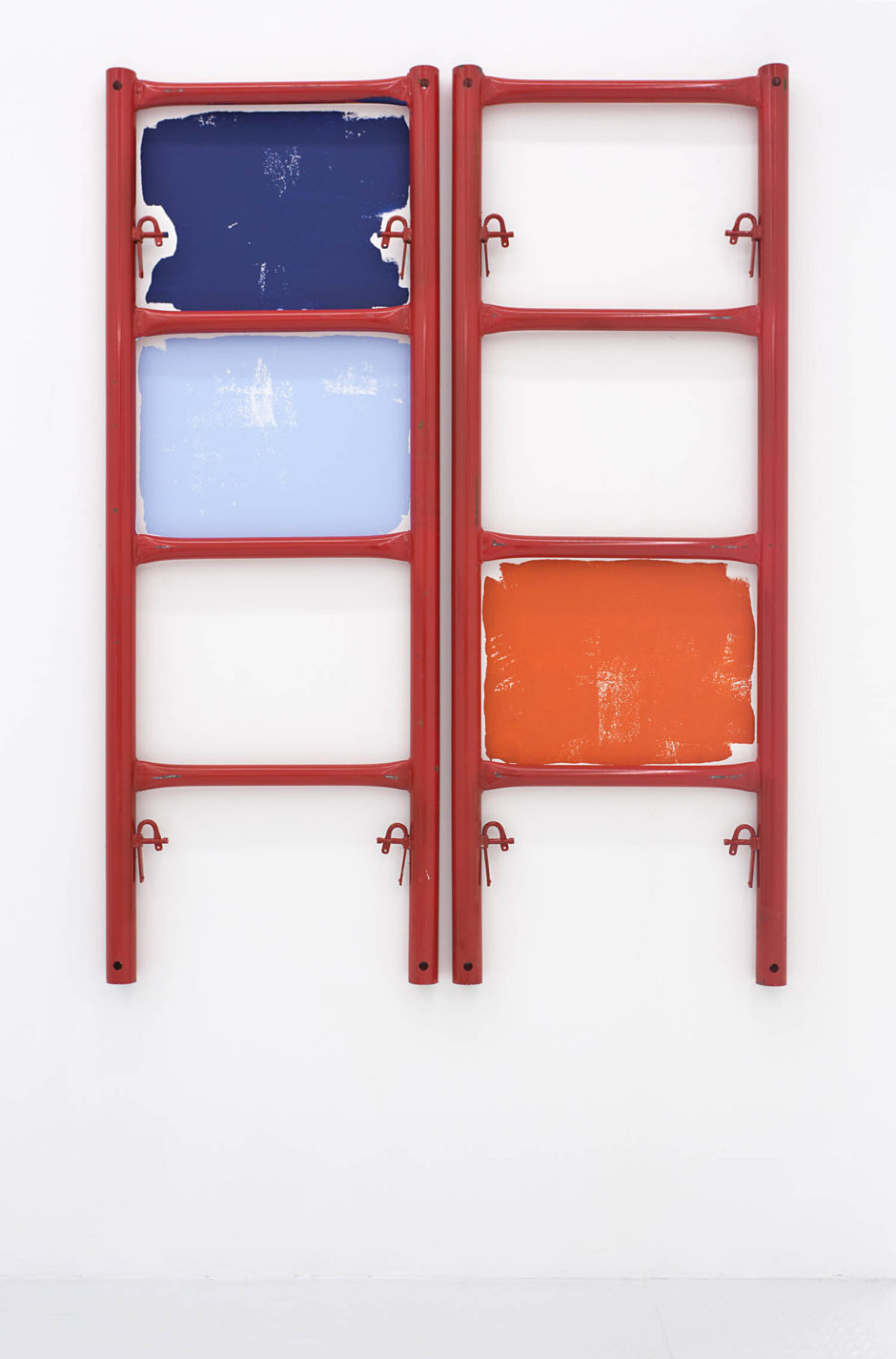 """Sunset Drive"", 2015, scaffolding, paint, 72 x 53 x 2.75 inches, 182.9 x 134.6 x 7 cm"