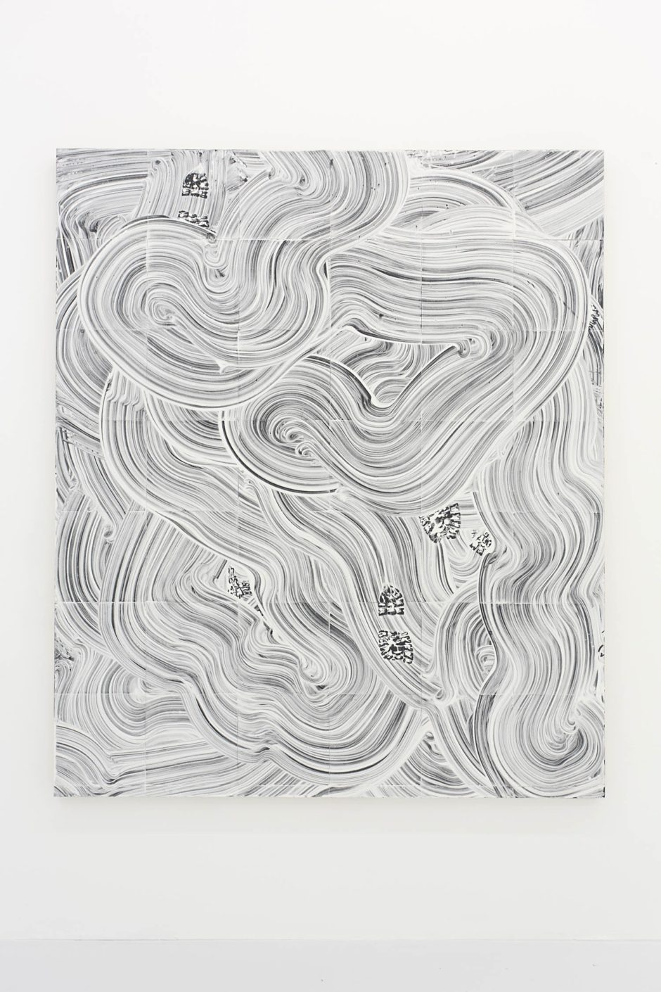 """Lost In Space I"", 2015, fiber glass reinforced plaster on linoleum mounted on panel, 84 x 72 x 2.15 inches, 213.4 x 182.9 x 5.5 cm"
