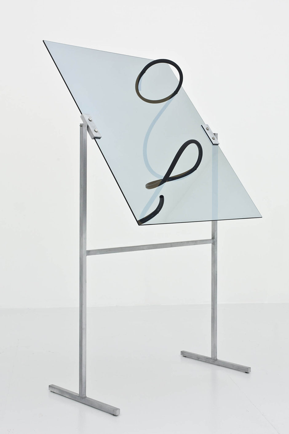 """Censor No.2"", 2015, hose, one way mirror, aluminum armature, 79 x 41.5 x 24 inches, 200.7 x 105.4 x 61 cm"