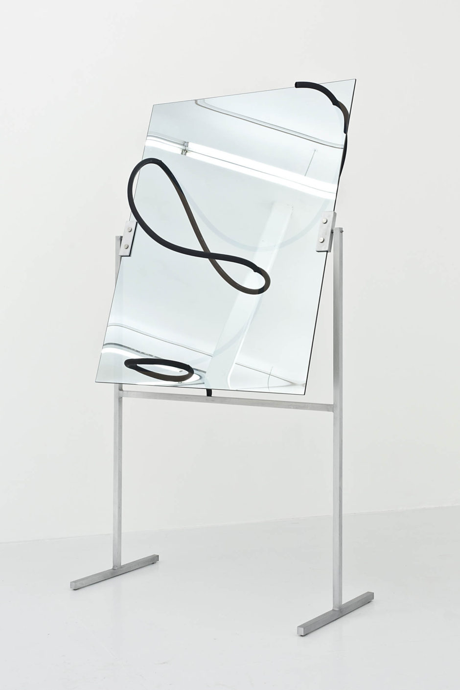 """Censor No.1"", 2015, hose, one way mirror, aluminum armature, 79 x 41.5 x 21 inches, 200.7 x 105.4 x 53.3 cm"