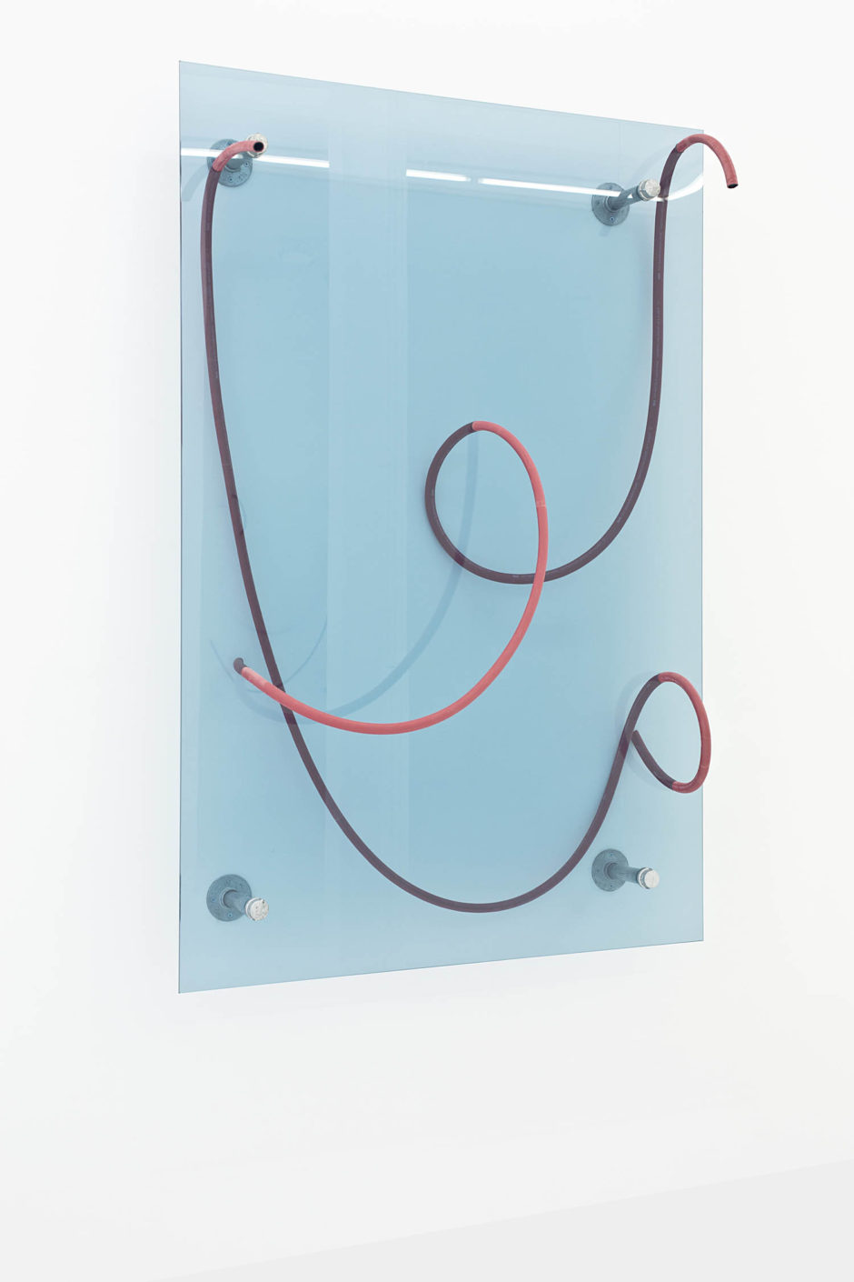 """Release (Line Drawing)"", 2015, hose, glass, steel, hardware, 72 x 48 x 15 inches, 182.9 x 121.9 x 38.1 cm"