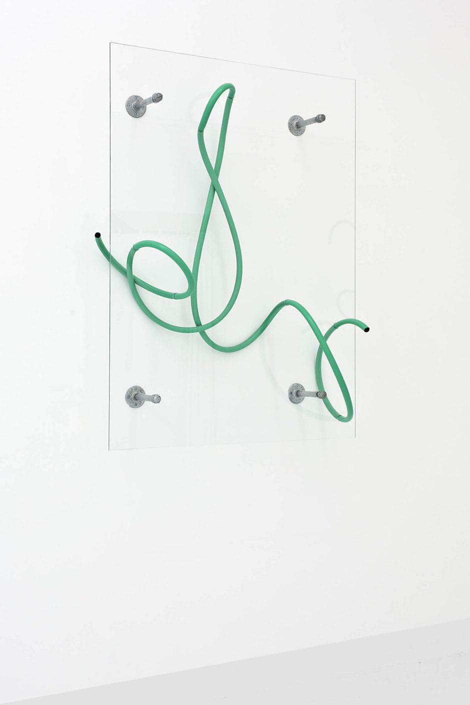 """Mary"", 2015, hose, starphire glass, steel, hardware, 53 x 40 x 12 inches, 134.6 x 101.6 x 30.5 cm"