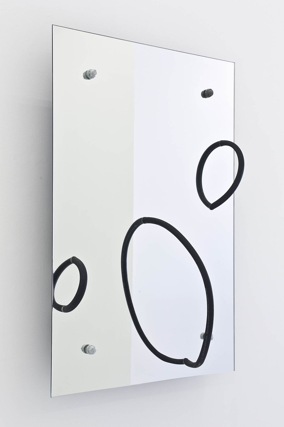 """Monday"", 2015, hose, mirror, steel hardware, 47 x 32 x 12 inches, 119.4 x 81.3 x 30.5 cm"
