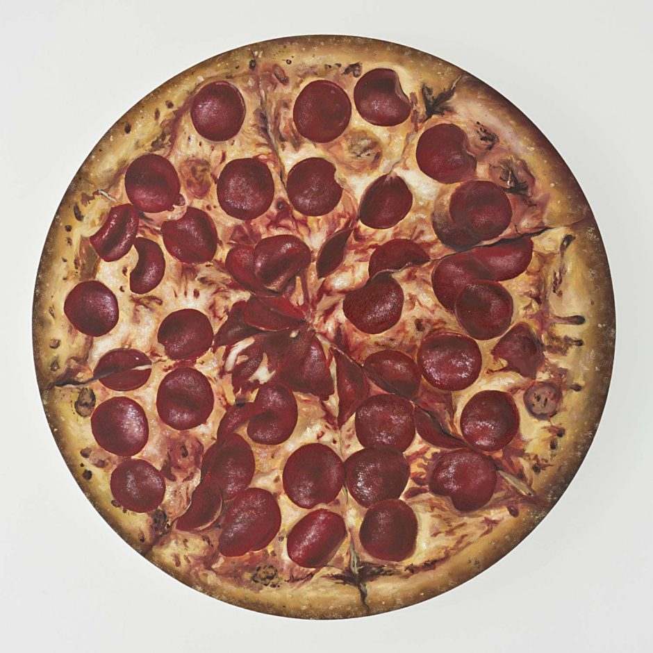 "KATSU, ""Large Pepperoni Consciousness"", 2015, Oil on canvas, 30 inches diameter, 76.2 cm diameter"