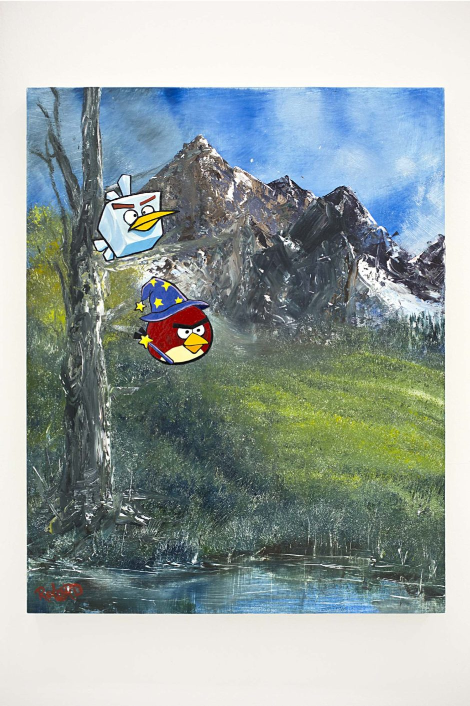 "Rachel Lord, ""Mountain Meadow (with Red Wizard and Ice Cube Bird)"", 2014, Oil and enamel on panel, 24 x 19 x 1.5 inches, 61 x 48.3 x 3.8 cm"