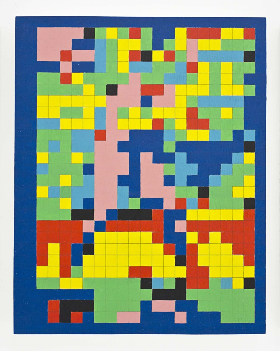 "Robert Otto Epstein, ""Baseball Card No. 3"", 2014, Acrylic on hand gridded wood panel, 14 x 11 x 1.5 inches, 35.6 x 27.9 x 3.8 cm"