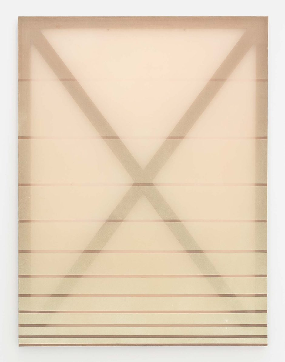 "Rebecca Ward, ""X (cream and pink)"", 2014, Oil and dye on silk, 60 x 45 inches, 152.4 x 114.3 cm"