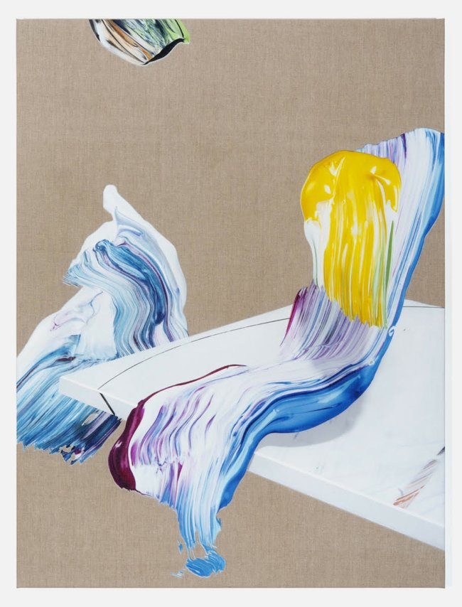 Matthew Stone, Reclining Nude, 2015, digital print and acrylic on linen, 40 x 30 inches, 102 x 76 cm