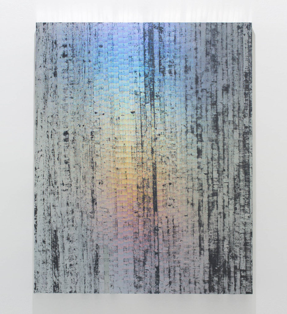 Jon DeCola, Breakcutrun, 2015, Holographic security foil, enamel, acrylic on birch panel, 60 x 48 inches.