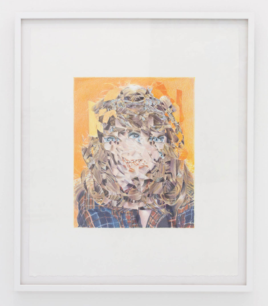 "Eric Yahnker, ""Scrambled Actress"", 2015, colored pencil on paper, 18 x 15 inches"