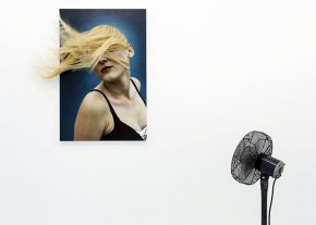 mixed media, printed photo, photo, human hair, fan, human figure