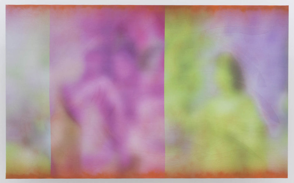 "Ry David Bradley, ""Here, Here and Here 3"", 2015, spray paint and dye transfer on synthetic suede, 44 x 72 inches"