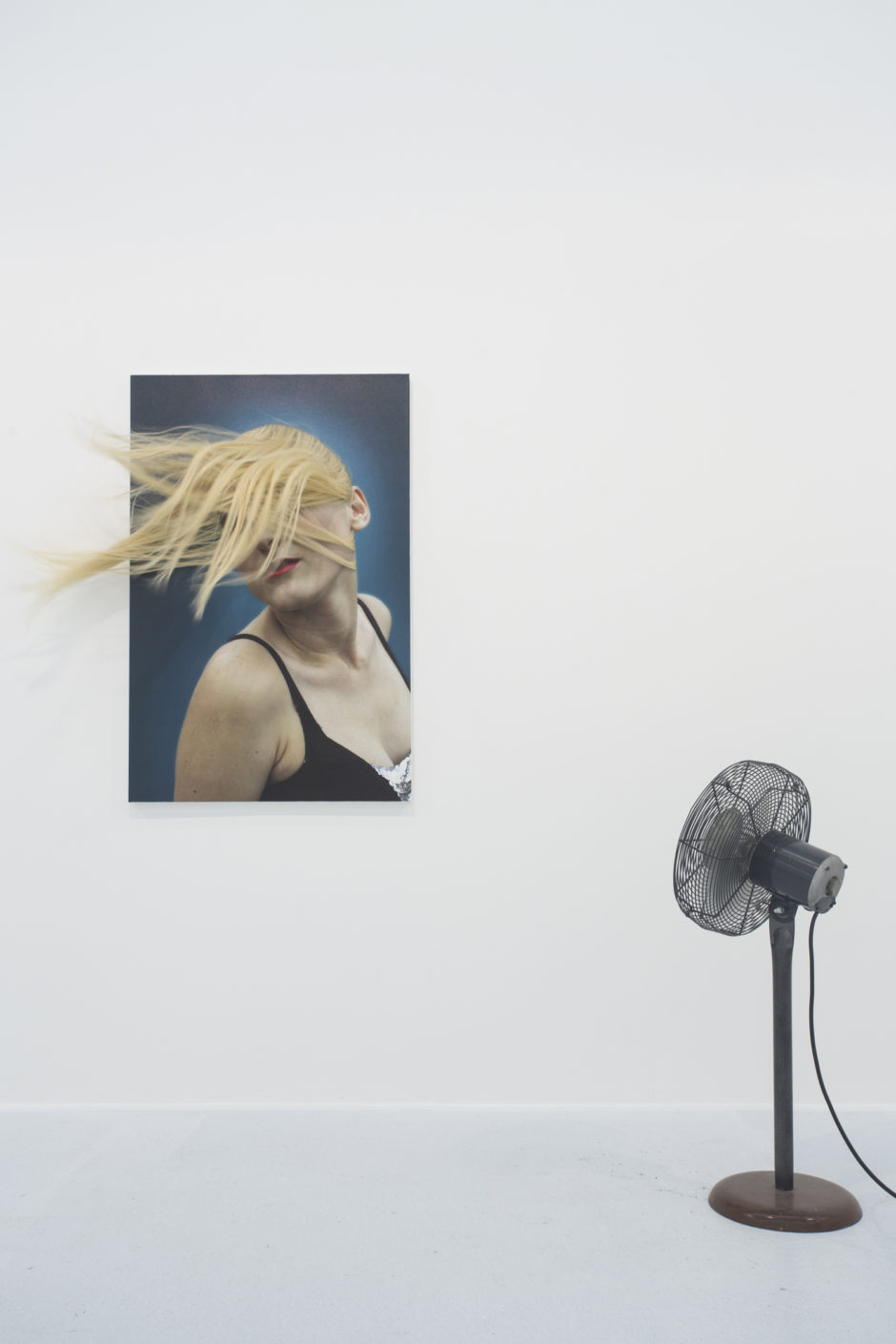 Adam Parker Smith, Crush, 2012, Printed photo on canvas, human hair, fan, 60 x 40 inches.