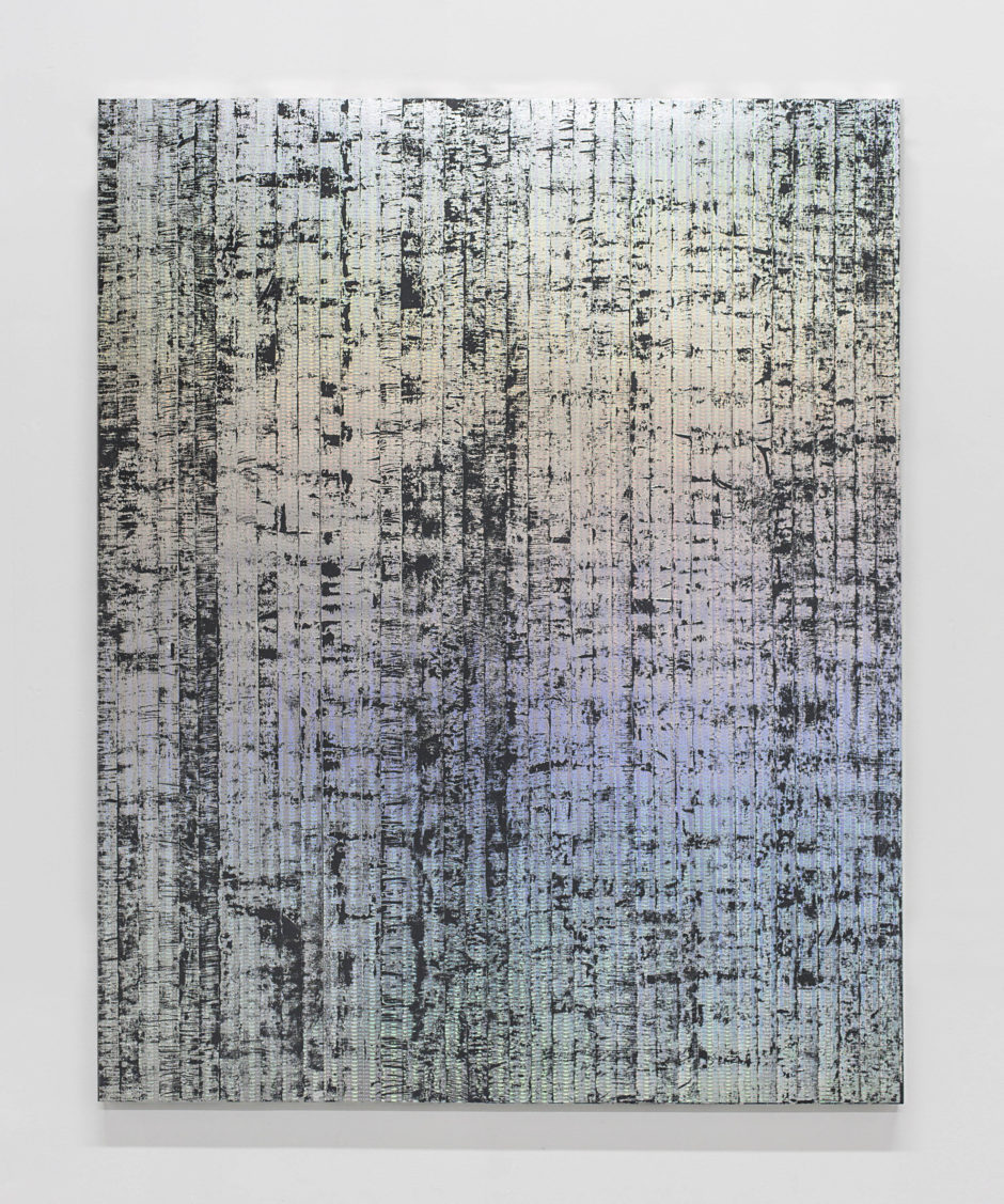 "Jon Decola, ""dipformground"", 2016, enamel, acrylic, holographic security foil, on birch panel, 60 x 48 inches"