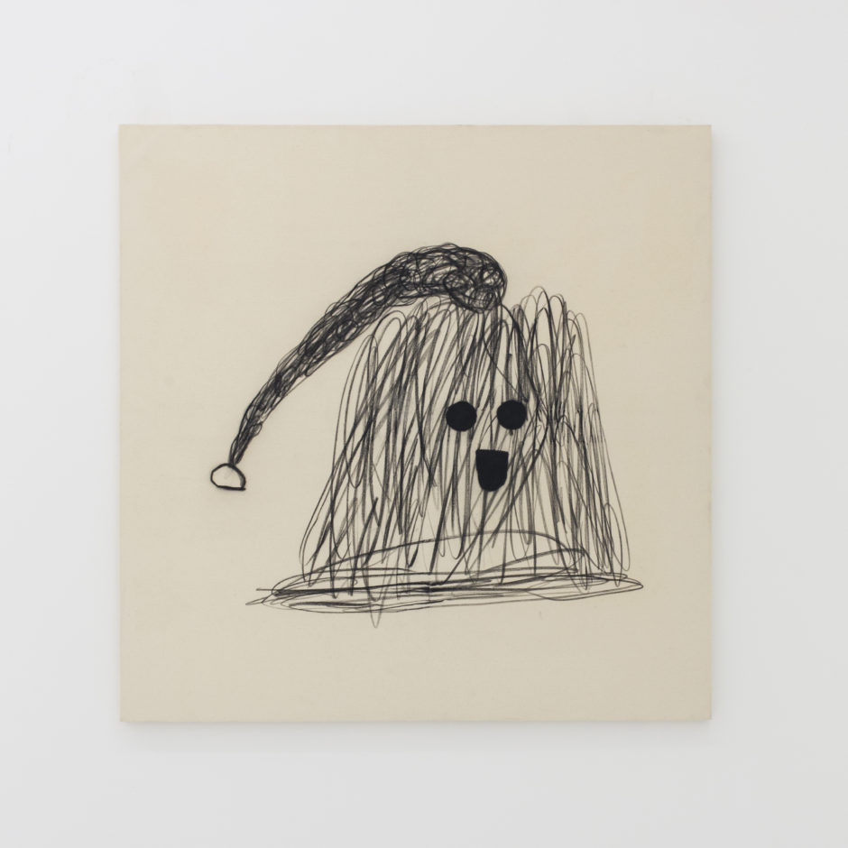 Misaki Kawai, Itchy Cap, 2013, charcoal on canvas, 50 x 50 inches