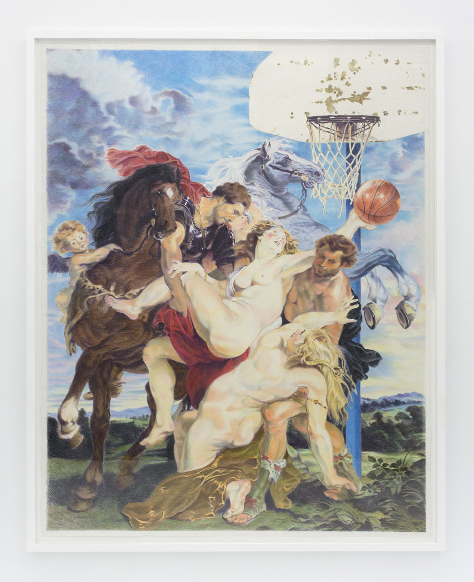 And 1 (After Rubens), 2016, colored pencil on paper, 92.5 x 72 inches