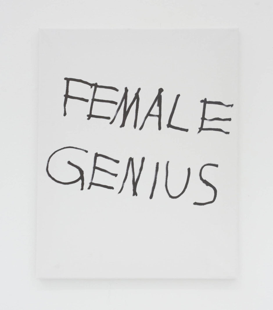 """FEMALE GENIUS"", 2016, ink on canvas, 20 × 16 in, 50.8 × 40.6 cm"