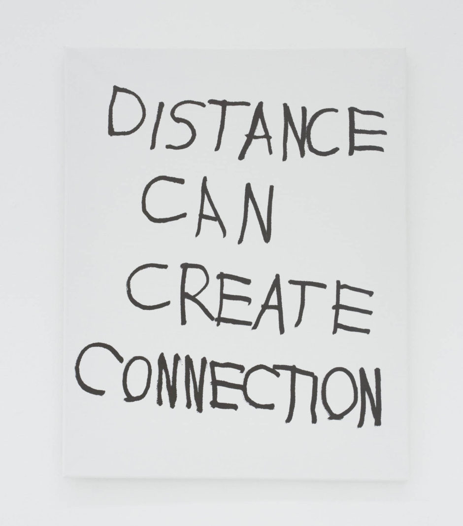 """DISTANCE CAN CREATE CONNECTION"", 2016, ink on canvas, 20 × 16 in, 50.8 × 40.6 cm"