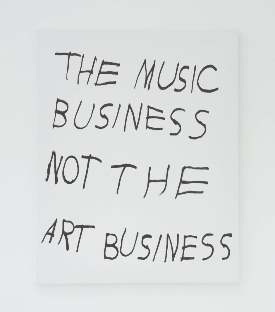 """THE MUSIC BUSINESS NOT THE ART BUSINESS"", 2016, ink on canvas, 20 × 16 in, 50.8 × 40.6 cm"